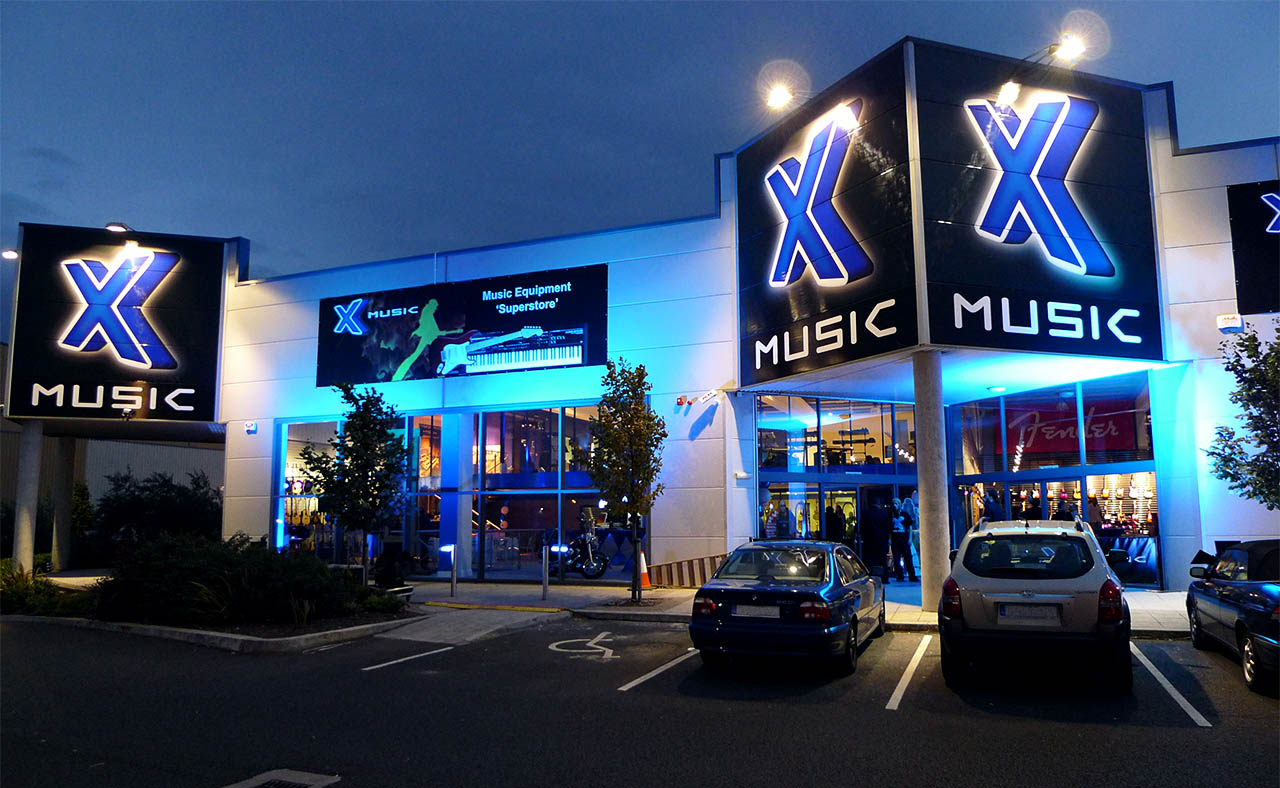 XMusic Red Cow Store at Twilight